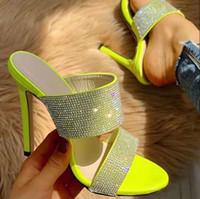 zapatos de boda verde rhinestones al por mayor-Más el tamaño de 35 a 40 41 42 Rhinestone verde banquete de baile Zapatos de novia sandalias