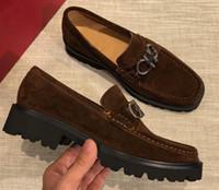 zapatos de vestir de ante para hombre nuevos al por mayor-Classic Brand New Mens Gentleman Oxfords Drive Suede Slugged Bottom Slip On Zapatos de vestir Tamaño 38-44
