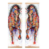 ingrosso dipinti ad olio sul mare-WANGART struttura della pittura di maggiore Esecuzione originale Cavallo della tela di canapa della pittura a olio di arte a rotolo parete di legno Immagine per il salone