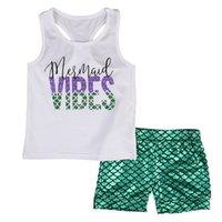 denizkızı çocukları toptan satış-Kızlar Mektup Baskı Kıyafetler Çocuk Mermaid Tops Ölçeği Şort Set Çocuklar Moda Kolsuz Mermaid Giyim Seti RRA571