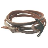 pulseira de couro em torno de pulseira venda por atacado-Envoltório de couro dos homens viking em torno de pulseira trançada âncora viva esperança peixe paracord charme pulseiras