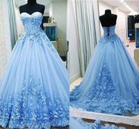 tatlım arkalıksız balo elbisesi toptan satış-2019 Balo Gelinlik Sevgiliye Aplikler Tül Backless Bandaj Açık Mavi Abiye giyim Quinceanera Elbiseler Tatlı 16 Elbiseler