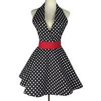 Wholesale cute women aprons for sale - Group buy Retro Kitchen Apron Woman Cotton Polka Dot Cooking Apron Vintage Cute Lady Bib Cotton Apron Dress