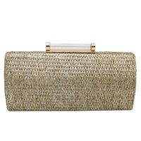соломенные муфты оптовых-Сцепление Женского Стро Подушка Плетение сцепление сумка Мода с цепочкой Роскошных сумок женщин сумок Главного Femme