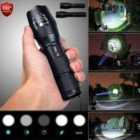 modo lanterna xml t6 venda por atacado-Polícia LEVOU Lanterna Tática 50000LM XML-T6 Zoomable Tocha Lâmpada 5 Modos