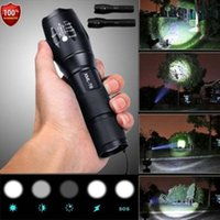 ingrosso torcia elettrica auto-Police LED Flashlight Tactical 50000LM XML-T6 Zoomable Torch Lamp 5 modalità