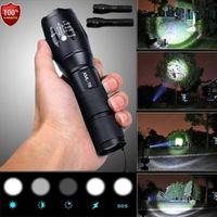 xml t6 el feneri modu toptan satış-Polis LED El Feneri Taktik 50000LM XML-T6 Zumlanabilir Torch Lambası 5 Modu