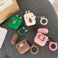 elma ayıları toptan satış-Sevimli Ayı Tavşan Apple AirPods Için Kulaklık Kabuk Silikon Kablosuz Bluetooth Kulaklık Durumda Anti-kayıp Halka ile Yumuşak Dayanıklı Serin Darbeye Halka