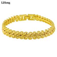 ingrosso braccialetti di modo migliori-Il nuovo braccialetto trasversale del doppio di colore dorato 24k per il migliore regalo semplice dei monili di modo femminile libera il trasporto