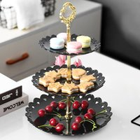 Wholesale cupcakes dessert stand resale online - Three layer Fruit Plate Cake Stand Kitchen Accessories Home Party Dessert Storage Rack Festival Supplies Cupcake Fruit snack Plate Stand