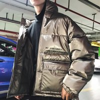 Wholesale zipper led light resale online - Cool2019 Winter Reflect Light Man Trend Stand Lead Teenagers Cotton padded Clothes