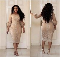 Wholesale organza african dresses for sale - Group buy African Champagne Mother Of The Dresses Jewel Neck Applique Illusion Sleeve Long Sleeve Evening Gowns Plus Size Mermaid Prom Dress