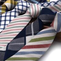 erkekler için resmi kravat toptan satış-Moda Man İş Pamuk Tie Boş Düğün Evrensel Ekose boyunbağı Klasik Çizgili Resmi Giyim Takım Elbise Kravat TTA1380-14