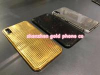 24ct gold gehäuse großhandel-2018 neueste heiß für iphone x 24ct gold rose gold platin gehäuse chassis gold voll dimond hinten tür für ip x 10