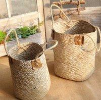 ingrosso cesti di fiori appesi-Home Garden Pieghevole Seagrass Cesto di cesti di stoccaggio Cestini pensili Vasi da fiori Fioriera in rattan Organizzatore