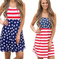 bandeiras vintage venda por atacado-Senhoras Estrelas Impressão Vestidos Praia Listrada Mini Vestidos Vintage Bandeira Americana Independência Dia Nacional EUA 4 De Julho Com Painéis Vestido Curto