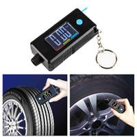ford elektronik großhandel-2-in-1 Mini Elektronische Digitalanzeige Reifenlehre Keychain Automobil Hohe Präzision Profiltiefe Reifendruckprüfer