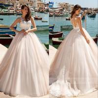 Wholesale romantic simple beach wedding dresses resale online - Illusion Back Princess Ball Gown Wedding Dress Beading Appliques Romantic Simple Beach Wedding Gowns Vestido De Noiva