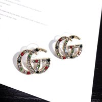 Wholesale double pearl ear for sale - Group buy Designer brand fashion Letters G Earrings Gold Silver Plated Ear Studs Double G Earddrop For Women Girl Party Jewelry