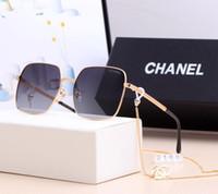 cadeia de óculos de caixa venda por atacado-2019 moda marca óculos de sol mulheres designer grande moldura quadrada com corrente de óculos de sol óculos simples refletor melhor qualidade com caixa