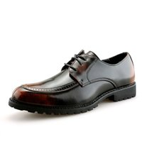 melhores sapatos de vestido marrom venda por atacado-Melhores Dress Shoes venda para homens Moda Retro Mens Oxford sapatos para o casamento Red Brown Partido Shoes Cordas de sapatos de couro Casual