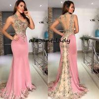 abendkleider backless wrap großhandel-Pale Pink Mermaid Prom Dresses 2019 V-Ausschnitt Kristall Perlen Spitze Applique Backless Chiffon arabische Abendgarderobe Festzug Kleider