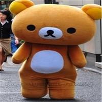 ingrosso costumi da orsacchiotti adulti-Bella marrone Teddy Bear Mascot Costume personaggio mascotte adulti piccoli occhi grandi orecchie tondo naso