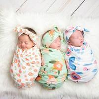 Ins Wraps Blankets Kids Muslin Swaddles Nursery Bedding Newborn Floral Print Swaddle + Bunny Headband two piece sets