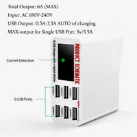 Wholesale usb tablet charging station online – 6A with LCD Digital Display Port USB Charger Fast Quick Charge Smart Charging Station Adapter for Smart Phone Tablet PC
