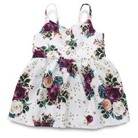 Wholesale cute vintage baby clothes for sale - Group buy DRESS girls clothing pink floral girls beach dress cute baby summer backless halter dress kids vintage flower dresses BY1109
