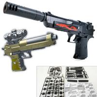 bloques de montaje de plástico al por mayor-DIY SWAT Airsoft Building Blocks Ladrillo Simulación Arma Desert Eagle Replica Assault Gun Assembly Toy Pistola de plástico Rifle Toy para niños