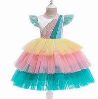 Wholesale rainbow dresses for kids resale online - Rainbow Layered Girls Dresses Glitter Colorful Sleeveless Dresses for Party Kids Clothes Y D0113