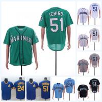 ingrosso numero di base-Seattle 51 Ichiro Suzuki 24 Ken Griffey Jr. Mariners Verde Bianco Blu Base flessibile Cool base Baseball Jersey Nome e numero doppio cucito