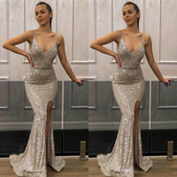 Wholesale lilac bridesmaid dresses online - 2019 Deep V Neck Mermaid Silver Prom Dresses Sequined Front Side Split Spaghetti Evening Party Dress Cheap Bridesmaid Gowns BC1552