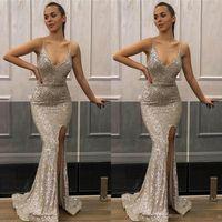 derin v gümüş elbise toptan satış-2019 Derin V Boyun Mermaid Gümüş Gelinlik Payetli Ön Yan Bölünmüş Spagetti Akşam Parti Elbise Ucuz Gelinlik Modelleri BC1552