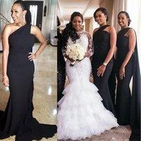592e8068d93 Nouveau Noir Sirène Une Epaule Robes De Demoiselle D honneur Avec Watteau  Train Perlé Taille Des Femmes Africaines Robes Formelles Robe De Fête De  Mariage