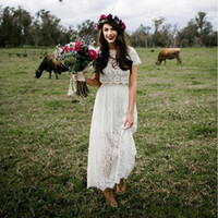 Wholesale two piece wedding dresses for sale - Hippies Two Pieces Country Wedding Dresses with Short Sleeves Modest Ankle Length Lace Bohemian Wedding Bridal Gowns Cheap