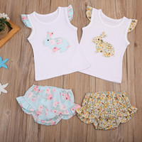 Wholesale european style baby clothes online - Easter Baby girls bunny outfits Newborn floral rabbit print top ruffle Shorts set summer boutique kids Clothing Sets C5968