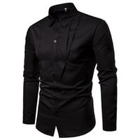 projeto novo do vestido dos homens venda por atacado-Mens manga comprida camisa Casual dress design exclusivo blusa camisas dos homens branco preto cor sólida 2019 novo