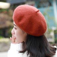 женские шерстяные шляпы белые оптовых-Сплошной цвет женская девушка берет женский французский художник теплая шерсть зима Шапочка шляпа черный белый серый розовый шерсть женская шапка