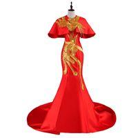 imagens de muslim women clothing venda por atacado-Luxo Vermelho Tailing Vestido de Noite Elegante Ouro Phoenix Bordado Do Vintage Cheongsam Vestidos de Casamento Tradicional Chinesa Vestido