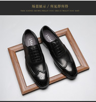 Wholesale wedding dress cloth resale online - Cloth Man Leather Shoes Male Business Affairs Correct Dress Youth Enchanting2019 Locke Carving Circle Head Chalaza Three Joint Derby Shoe
