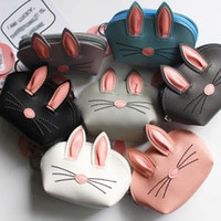 Wholesale multi card coin purse resale online - 7styles Rabbit Ear keychain coin bag Easter Cartoon Card Holder Credit Card Coin Purse Holders Party Favor kids wallet FFA1514