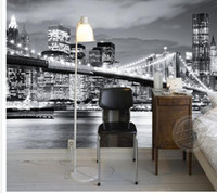 neue tapete europa großhandel-Gewohnheit irgendeine Größe New- Yorkbrücken-Europa- und Amerika-Stadt-Landschafts-Schwarzweiss-Landschaftswandgemälde-Hintergrund-Wand