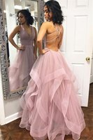 Wholesale evening gown backless for sale - Sexy Criss Cross Back Evening Dresses Backless Tulle Long Prom Dress Custom Made Tiered Skirt Party Gowns