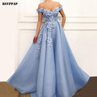 3d spitze abendkleid großhandel-Langes Abendkleid 2019 Neue Ankunft V-Ausschnitt Vintage Dubai 3D Blumen Lace Arabisch Stil Blau Frauen Formale Abendkleider