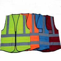 chalecos de seguridad envío gratis al por mayor-Alta visibilidad Ropa Ropa Seguridad Chaleco reflectante Trabajo nocturno Seguridad Tráfico Ciclismo Envío gratis