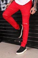 zerrissenen geflickten jeans großhandel-Mode Hip Hop Patch Männer Retro Jeans Knie Rap Loch mit Reißverschluss Lose Slim Destroyed Torn Ripped Baumwolle Jeans plus größere Größe