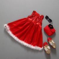 vestidos de tutú de plumas de bebés al por mayor-Vestido de invierno para niñas Navidad Rojo con lentejuelas Vestidos de plumas Bebé plisado Princesa Tutu Vestido sin mangas para niñas pequeñas