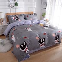 постельное белье для собак оптовых-Gray Color Cartoon Style Bedding Set For Kids Duvet Cover sets Queen Cute Dog&Cat Pattern Bedclothes Suit for All Seasons